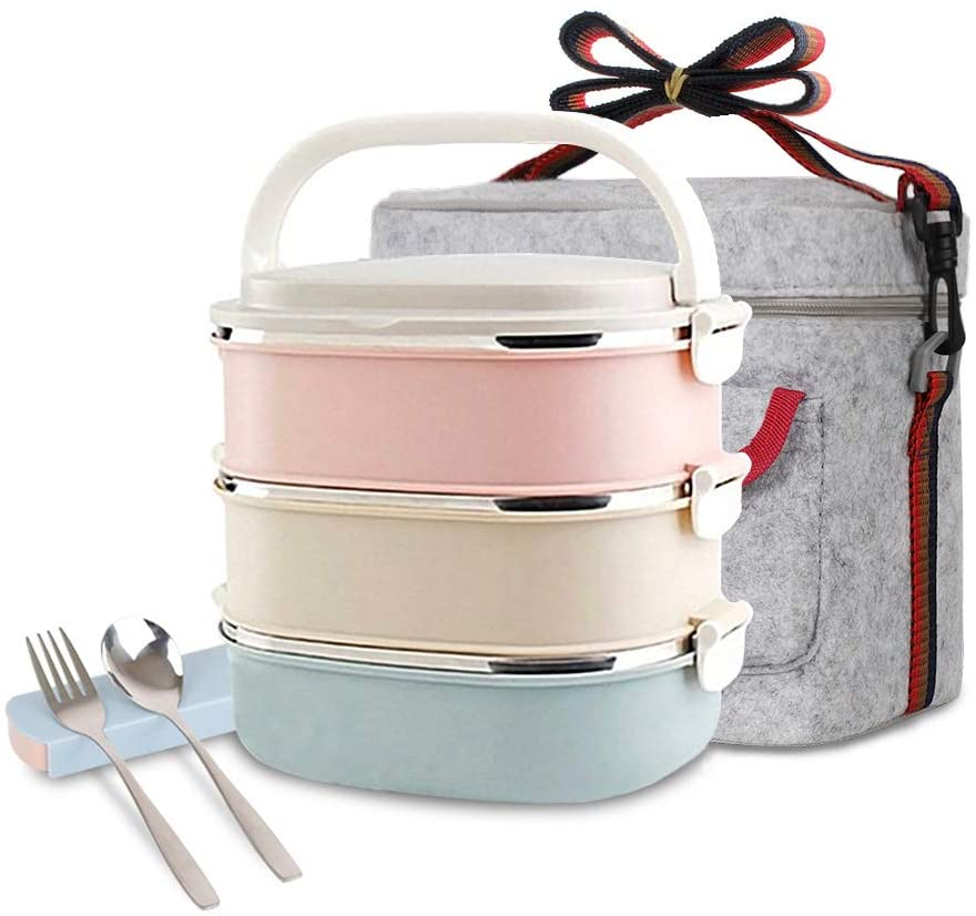 Stainless steel stacked lunch box